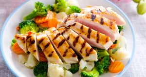 Salad with grilled chicken on it