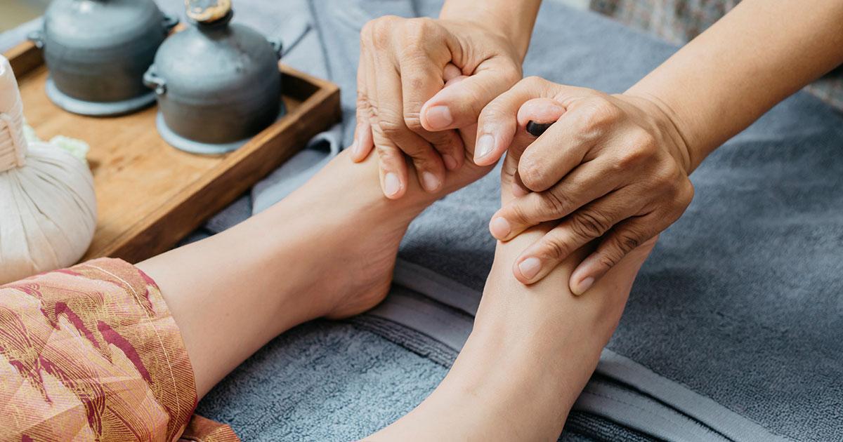 Person having their feet massaged