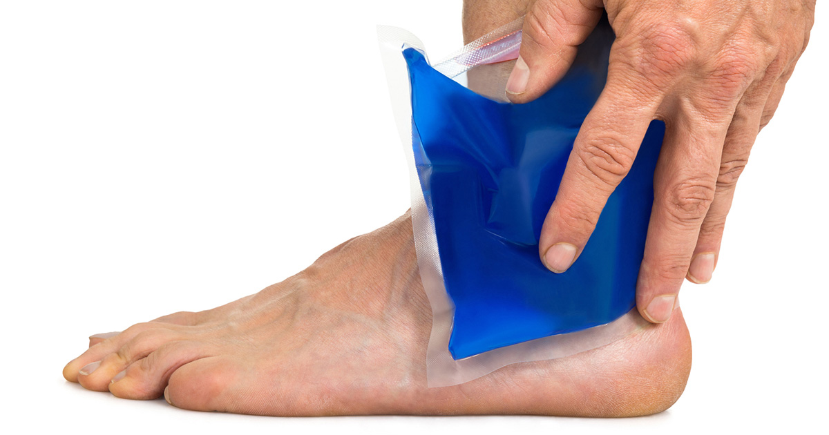 Ice pack on an ankle