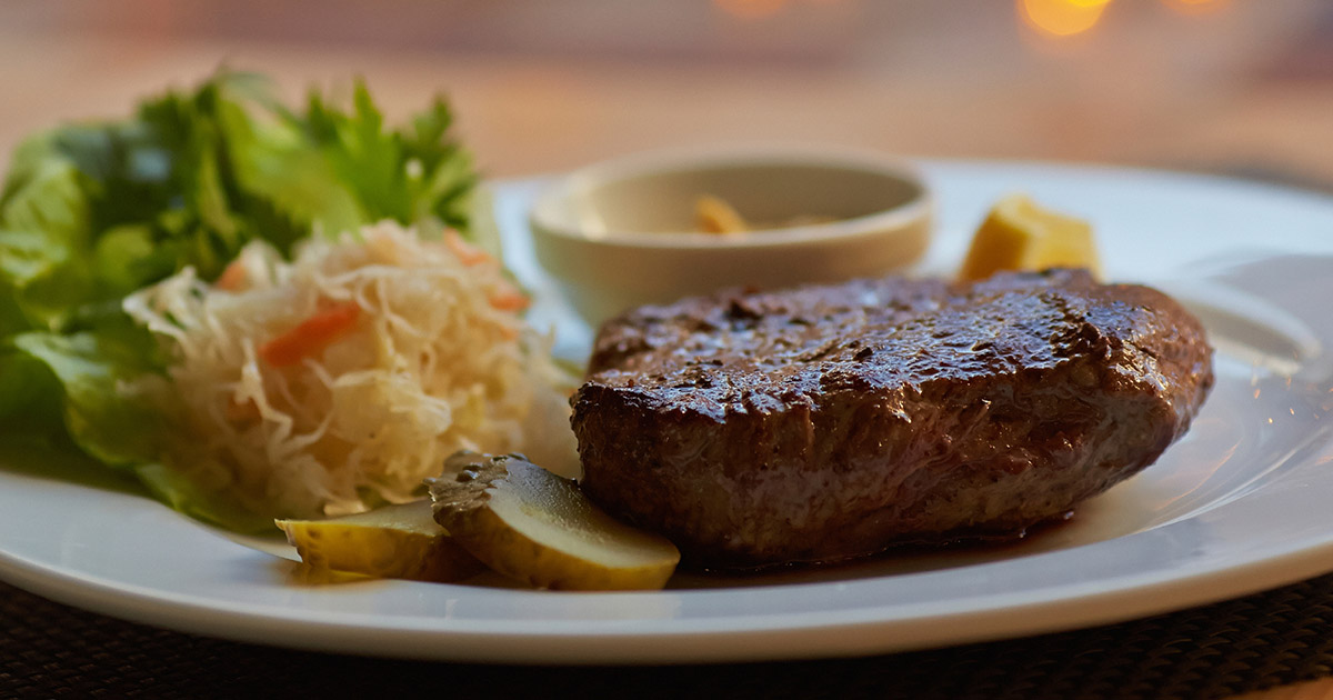 Plate with steak and potatoes